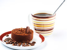 Cake with a cup of coffee Royalty Free Stock Photos