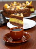 Cake with a cup of coffee Stock Photography