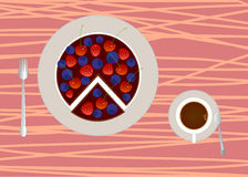 Cake with cup of coffee or tea. Vector illustration of cake with cup of coffee or tea Stock Image
