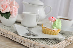 Cake with a cup of coffee on a tray Royalty Free Stock Photography