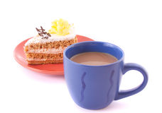 Cake and cup isolated Royalty Free Stock Photos