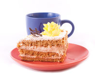 Cake and cup isolated Royalty Free Stock Image