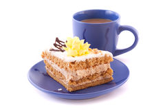Cake and cup isolated Royalty Free Stock Photography