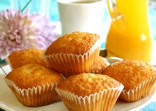 Cake, Cup Of Tea And Orange Juice Royalty Free Stock Photos