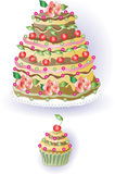 Cake and Cupcake with Cherry Stock Photography