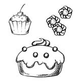 Cake, cupcake and cookies sketches Stock Image