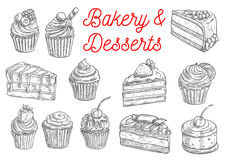 Cake, cupcake, fruit dessert and berry pie sketch Royalty Free Stock Photo