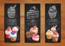Cake, cupcake, fruit dessert menu posters design Royalty Free Stock Images