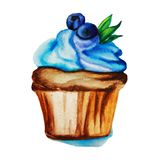 Cake, cupcake, gebakje, dessert, mafin, bakkerij, voedsel, beeldverhaal, verjaardag, room, slagroom, twee, verschillend, het kleu stock afbeelding
