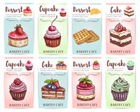 Cake, cupcake, muffin and waffle banners Stock Images