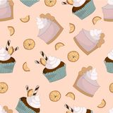 Cake and cupcake orange seamless pattern. Colorful vector illustration on peachy background Stock Images