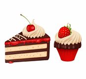 Cake and cupcake. Piece of chocolate cake with cream, cherry and cupcake with strawberry royalty free illustration