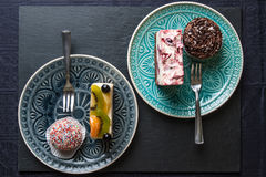 Cake and cupcake. Ready to serve stock image