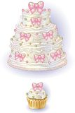 Cake and Cupcake with Ribbon Stock Images