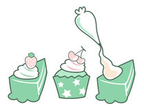 Cake and cupcake vector Stock Photography