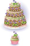Cake and Cupcake with Violets Royalty Free Stock Photos