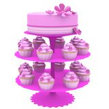Cake and cupcakes - 3d generated Royalty Free Stock Image