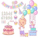 Birthday cake constructor set and happy boy holding balloon. Cake and cupcakes constructor with set of numbers, candle, air balloons, happy birthday garland Royalty Free Stock Image