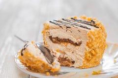 Cake with curd cream stock photos