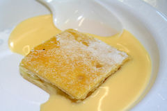 Cake & Custard. Apple cake and yellow custard on a plate Stock Image