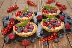 Cake with custard and berries Stock Photo