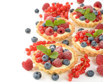 Cake with custard and berries Royalty Free Stock Photo