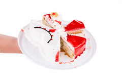 Cake cut in pieces. Royalty Free Stock Image