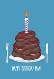 Cake cuts of meat. Happy birthday man. Delicious steaks. Congrat Royalty Free Stock Photos