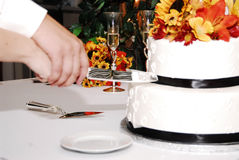 Cake cutting. A bride and groom join hands to cut through their wedding cake stock images