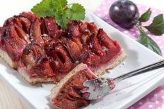 Cake with damson plums (Prunus insititia) Stock Photos