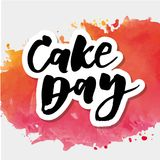 Cake day Lettering Calligraphy Watercolor Vector. Design Royalty Free Stock Photo