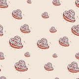 Cake in de vorm van harthand getrokken schets op roze achtergrond Naadloze patroonvector Stock Foto