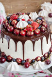 Cake decorated with chocolate, meringues and fresh berries Royalty Free Stock Images