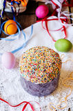 Cake decorated with colorful sprinkled on Easter Stock Photo