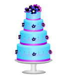 Cake decorated with flowers. Illustration of a cake decorated with piping and flowers Stock Image