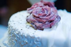Cake decorated with flowers Stock Photos