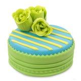 Cake. Decorated with fondant - isolated white background royalty free stock image