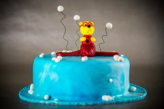 Cake decorated with plane and bear Royalty Free Stock Image