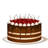 Cake with cherries Royalty Free Stock Photo