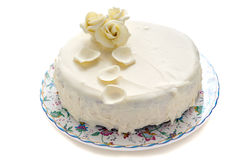 Cake decorated with white chocolate. Stock Photos