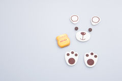 Cake decoration or homemade bear cake decoration on a backgrou Royalty Free Stock Images