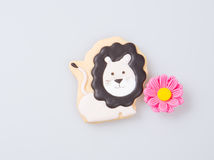 Cake decoration or homemade lion cake decoration on a backgrou Royalty Free Stock Photography
