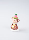 Cake decoration or homemade monkey cake decoration on a backgr Royalty Free Stock Photo