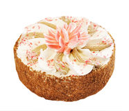 Cake with decorative Lotus flower Royalty Free Stock Photos