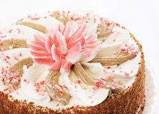 Cake with decorative Lotus flower Royalty Free Stock Images