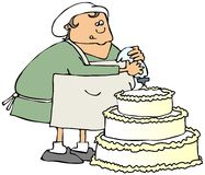 Cake decorator. This illustration depicts a woman decorating a large cake Royalty Free Stock Image