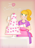 Cake design illustration. Happy cake designer making cake decorations Royalty Free Stock Images