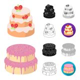 Cake and dessert cartoon,black,flat,monochrome,outline icons in set collection for design. Holiday cake vector symbol. Stock  illustration Royalty Free Stock Photos
