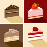 Cake, dessert, chocolate, strawberry, cherry, piece, color, flat. Stock Photography
