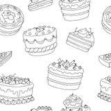 Cake dessert graphic black white seamless pattern illustration Stock Image
